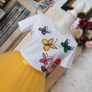 Fustă galbenă si bluză cu fluturi pictati handmade tulle .modele unicat